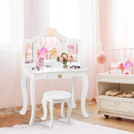 Costway 2 in 1 Frisiertisch Set Kinder Schminktisch Mädchen Frisiertisch Holz Spiegeltisch Weiß 80x42x105cm