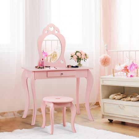 Costway Kinder Schminktisch Frisiertisch Make-up Tisch mit Hocker und Spiegel Rosa