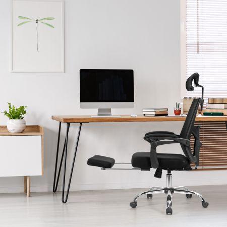 Costway Ergonomischer Zurück Klappbarer Stuhl Computerstuhl Bürostuhl Höhenverstellbar Schwarz