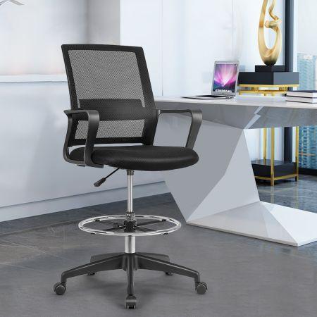 Costway Bürostuhl Zeichenstuhl aus Netzstoff Hoher Bürostuhl mit verstellbarem Fußring Schwarz