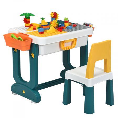 Costway 5 in 1 Kinder Aktivitätstisch Spieltisch Kinderschreibtisch mit Stauraum Sandtisch Aktivitäts-Spieltisch