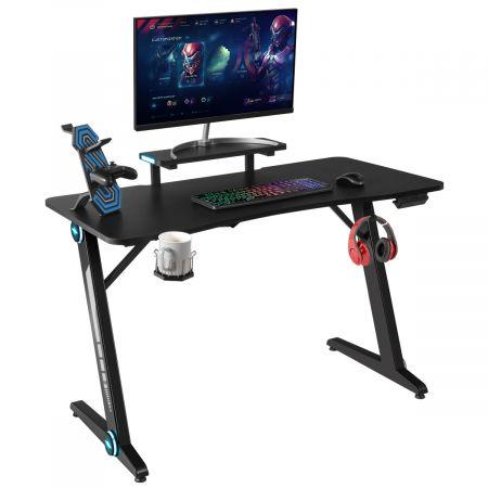 Costway Z-förmig Gaming Tisch Computertisch PC Tisch Schreibtisch mit Licht