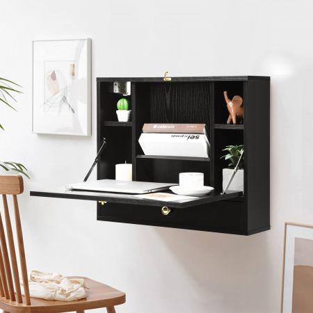 Costway Wandtisch klappbar Schreibtisch wandhängend Laptop-Tisch aus Holz 60 x 15 x 50 cm Schwarz
