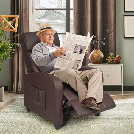 Costway Relaxsessel verstellbar Fernsehsessel TV Sessel Ruhesessel PU-Leder Braun
