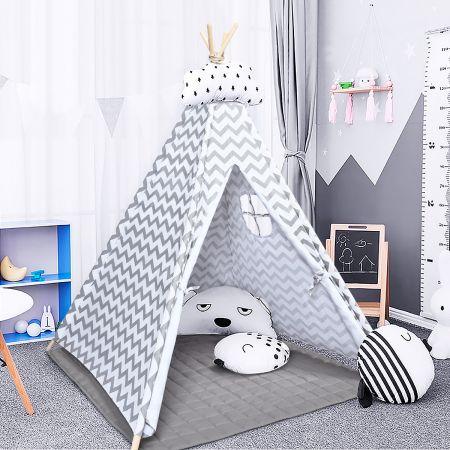 Costway Tragbares Kinder Spielzelt  Indianerzelt tragbar Stoffzelt Spielhaus für Kinder 120 x 120 x 160 cm Weiß + Grau