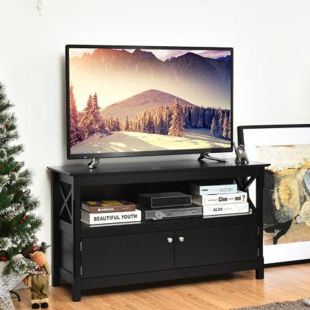 Costway TV-Kommode TV Schrank Wohnzimmerschrank Sideboard Fernsehtisch Holz 112 x 40 x 61 cm Schwarz