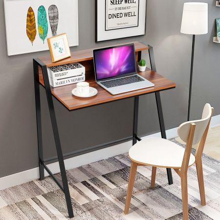 Costway 2-stöckig Schreibtisch Computertisch Arbeitstisch Bürotisch Büromöbel