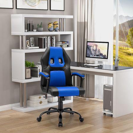 Costway PC Gaming-Stuhl Ergonomischer Computerstuhl mit Rückenlehne Blau
