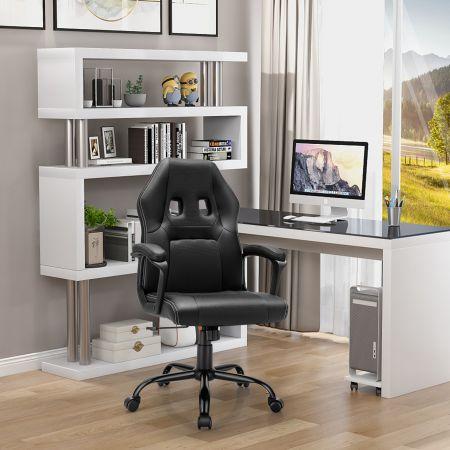 Costway Gaming-Stuhl mit Rückenlehne Ergonomisch höhenverstellbar Schwarz