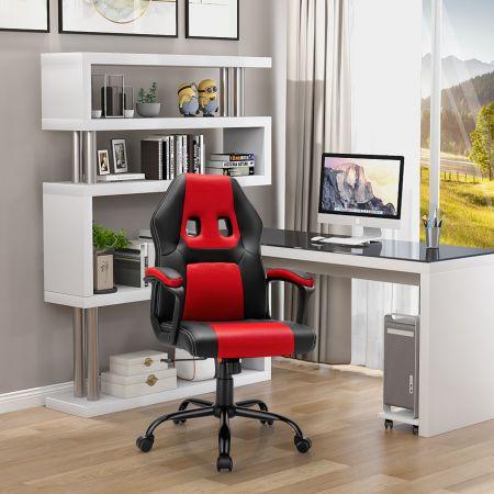 Costway Bürostuhl mit höhenverstellbarem Sitz PC Gaming-Stuhl Ergonomisch Rot