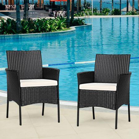 Costway 2er Set Outdoor Rattan-Stühle Rattan-Stühle mit Kissen 45 x 45,5 x 84,5 cm Schwarz + Beige