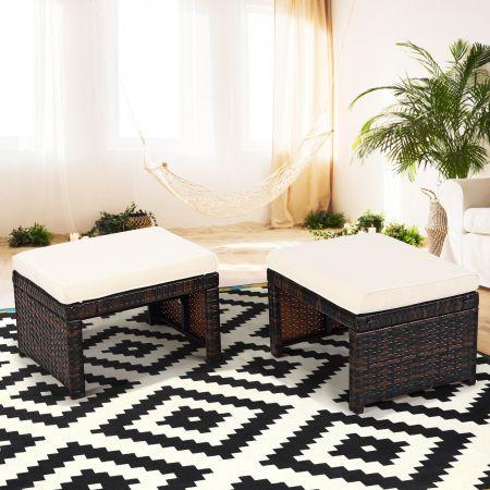 Costway 2er Set Rattan-Ottomanen Outdoor-Fußhocker mit weichem Kissen 49 x 40 x 33 cm Weiß