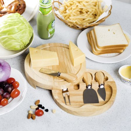 Rund Hölzern Käsebrett & Messer Service-set Käseset Käseplatte Holz und 4tlg Besteck