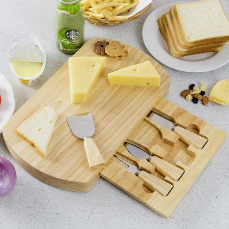 Hölzern Käsebrett & Messer Service-set Käseset Käseplatte Holz und 4tlg Besteck
