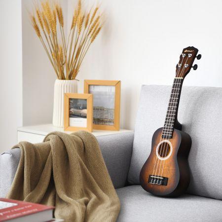 Costway Ukulele Ukulelen-Set mit Tragetasche Gitarreninstrument 17,5 x 6 x 53 cm Braun