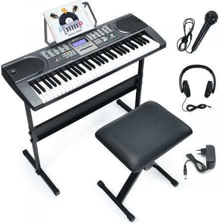 Costway 61-Tasten-Elektroklavier tragbares Musikinstrument Digitale Keyboard Schwarz + Weiß