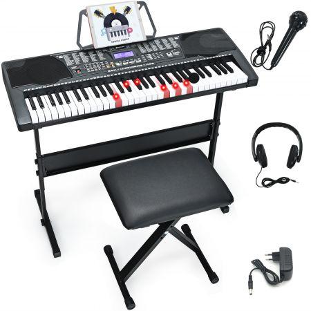 Costway 61-Tasten-Elektroklavier Digitale Keyboard tragbares Musikinstrument Schwarz + Weiß