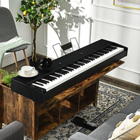 Costway Digitalpiano Klavier Elektrisches Keyboard Klaviertastatur mit Netzteil 135x32,5x10,5CM
