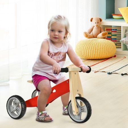 Costway 2-in-1 Holz-Balance-Bike und Dreirad Kleinkind Fahrrad ohne Pedale mit verstellbarem Sitz Rot + Natur