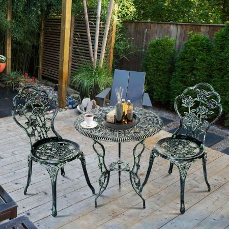 Costway 3tlg. Antik Bistroset Rosendesign Sitzgruppe Balkonset Gartenset mit 2 Stühle