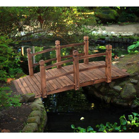 XXL Massive Holzbrücke Teichbrücke Garten Holzsteig 150cm