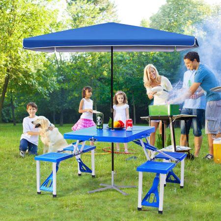 Costway Campingtisch mit 4 Stühlen Falttisch Gartentisch klappbare Sitzgruppe Camping Klappgarnitur 137x84x66cm Blau