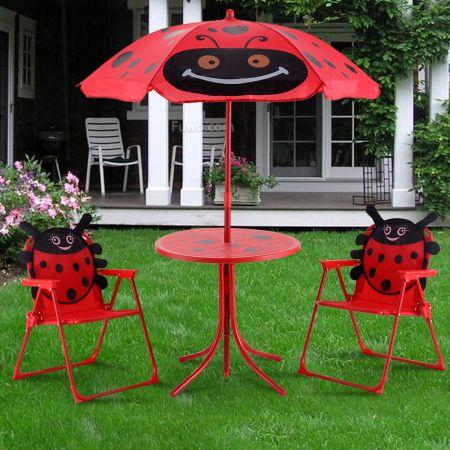 Sitzgruppe Sitzgarnitur Gartengarnitur Kindermöbel inkl. Sonnenschirm + 2 Kinderstühle klappbar