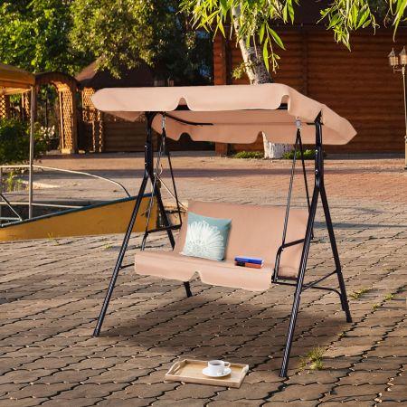Costway Hollywoodschaukel Gartenschaukel mit Sonnendach Gartenliege Schaukelbank 141 x 118 x 154 cm Braun