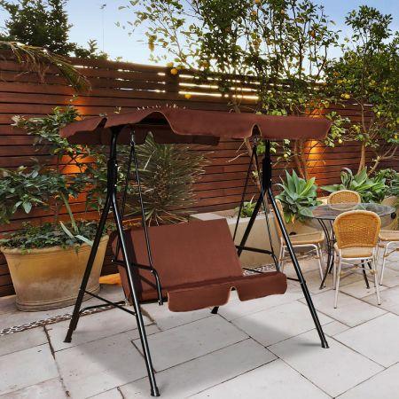 Costway 2-Sitzer Hollywoodschaukel Gartenschaukel mit Sonnendach 141 x 118 x 154 cm Braun