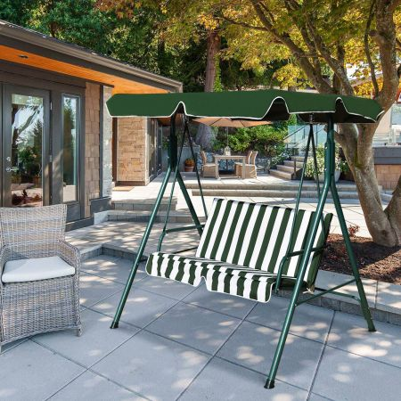 Costway Hollywoodschaukel Gartenschaukel Schaukel Gartenliege Schaukelbank Gartenbank mit Sonnendach Grün + Weiß