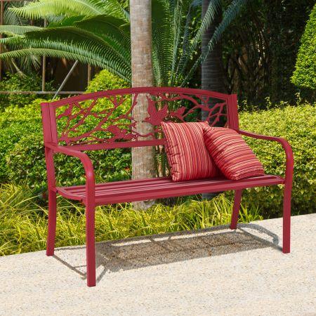 Costway Gartenbank 3-Sitzer Parkbank Eisenbank mit Rückenlehnen Rot 123 x 60 x 88 cm