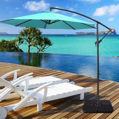 Costway 4-teiliger Schirmständer Schirmständer-Satz Basis Fächerförmiger Sonneschirmständer für Außenbereich Scwarz