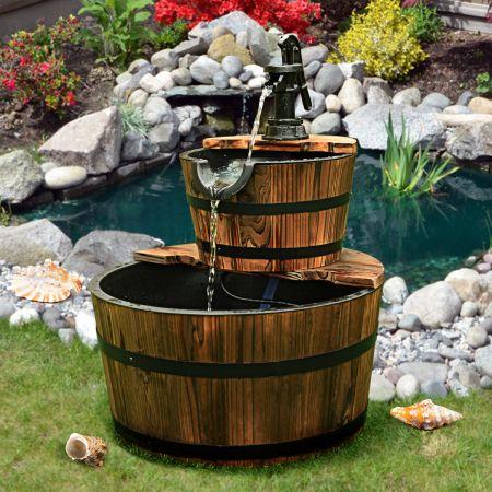 Costway Gartenbrunnen Holz Brunnen Holzbrunnen Holzfass mit Wasserpumpe Ø 44,5cm