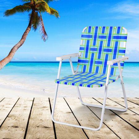 Costway 6er Set Klappstühle Strandstuhl Tragbarer Gartenstuhl für Camping mit Armlehne Blau