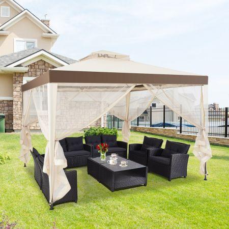 Costway Gartenpavillon Gartenzelt Camping  Partyzelt mit 4 Seitenwänden 300x300x265cm Beige