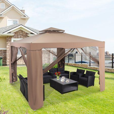 Costway Gartenpavillon Gartenzelt Camping  Partyzelt mit 4 Seitenwänden 300x300x265cm Braun