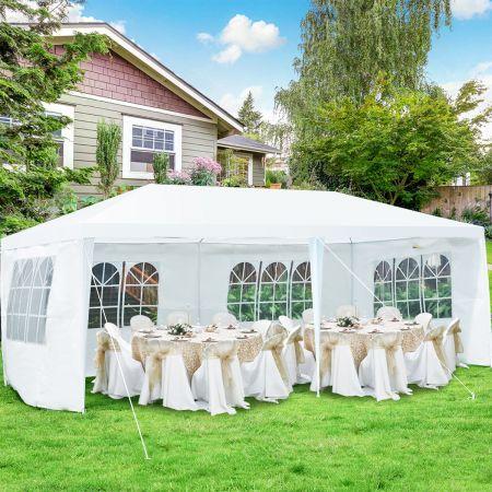 Costway 6 x 3 m Outdoor-Zelt tragbares wasserdichtes Zelt mit 4 abnehmbaren Seitenwänden Weiß