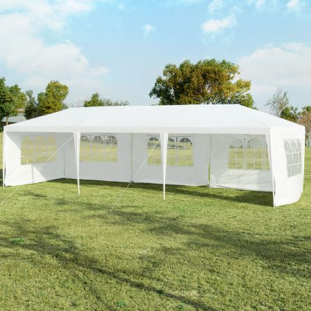 Costway 3 x 9 m Pavillon Zelt Gartenpavillon Gartenzelt mit 5 abnehmbaren Seitenwände weiß