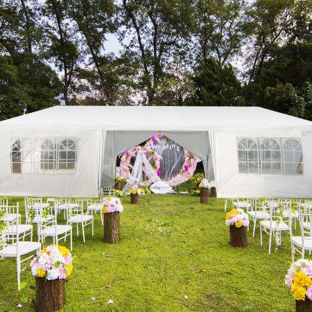 Costway Gartenpavillon 3x9m Partyzelt Gartenzelt UV-Schutz Zelt weiß