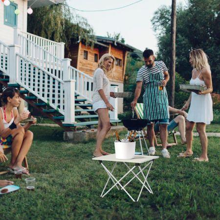 Costway Faltbarer Camping-Tisch Alu Leichterund zusammenklappbarer Aluminium-Tisch Picknick-Tisch 40 x 35 x 32cm weiß