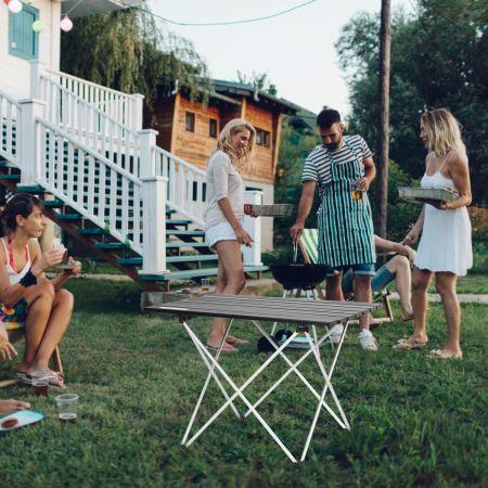 Costway Faltbarer Camping-Tisch aus Aluminium  Leichter und zusammenklappbarer Aluminium-Tisch 56 x 41 x 41 cm Schwarz