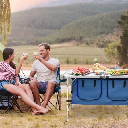 Campingtisch mit großem Stauraum Reiseküche Klapptisch aus Alu Gartentisch Picknicktisch Campingschrank Höhenverstellbar von 53-70cm Dunkelblau