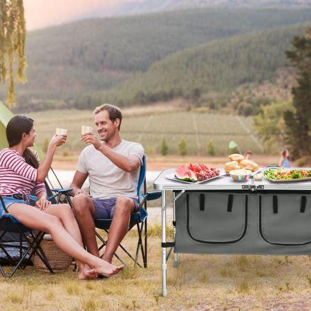 Campingtisch mit großem Stauraum Reiseküche Klapptisch aus Alu Gartentisch Picknicktisch Campingschrank Höhenverstellbar von 53-70cm Weiß+Grau