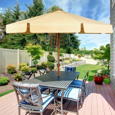 3m Sonnenschirm Gartenschirm Kippbar Terrassenschirmaus Holz & Wasserdichtem Polyestergewebe mit UV-Schutz Beige
