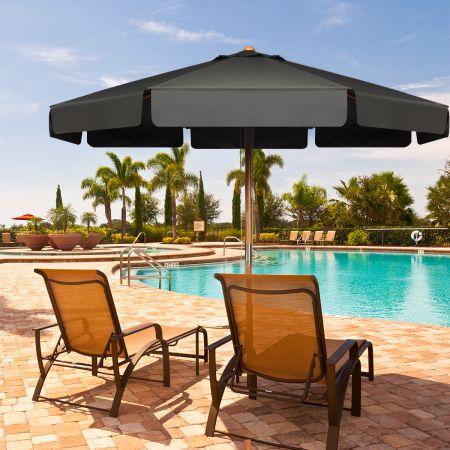 3m Sonnenschirm mit verstellvarem Neigungswinkels 8 Querstreben & Wasserdichtes Polyestergewebe mit UV-Schutz Grau