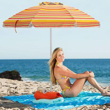 Costway Strandschirm mit Verankerung Sonnenschirm Marktschirm Gartenschirm neigbar für Outdoor Rot + Gelb