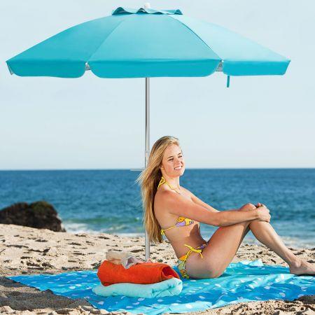 Costway Sonnenschirm mit Verankerung Marktschirm Gartenschirm neigbar Alu Terrassenschirm für Outdoor Blau