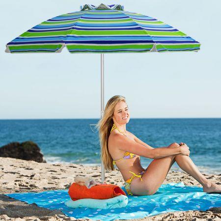 Costway Strandschirm tragbarer Sonnenschirm Marktschirm Gartenschirm neigbar für Outdoor Blau + Grün