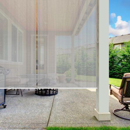 Costway  Außenjalousie mit UV-Schutz Abdunkelungsrollo Outdoor Rolljalousie Sonnenschutzrollo 121x181 cm Grau