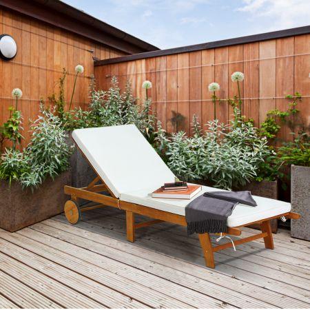 Sonnenliege Holz Gartenliege mit verstellbarer Rückenlehne mit Rollen und Kissen Strandliege für den Garten